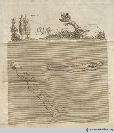 "Plate 10, The Art of Swimming: Floating. ""Should the feet seem too heavy, or incline to descend, the hands or fingers must be raised a little out of the water: this will counterbalance the feet, the breast being the center of buoyancy [fig 1]…To remain suspended in the water…the head must be thrown back, and the chin elevates higher than the forehead; the breast must be inflated, the back made quite hollow, and the arms and hands kept under water [fig 2]."""