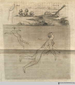 "Plate XI, The Art of Swimming: Instruments. Fig 1: A cork floatation device. Fig 2: A ""bellyboard"" made with cork. ""As these instruments afford buoyancy, as well as preserve the proper attitude , the swimmer will be at liberty to attend to the cause of his error."""