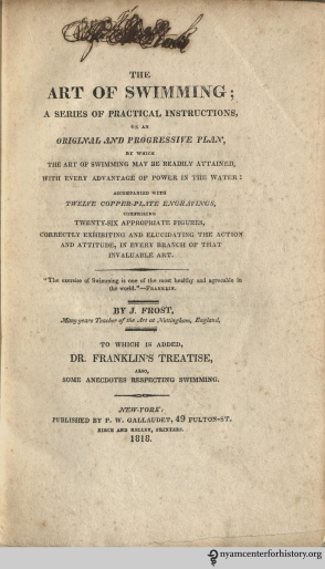 Title page, J. Frost, The Art of Swimming, 1818.
