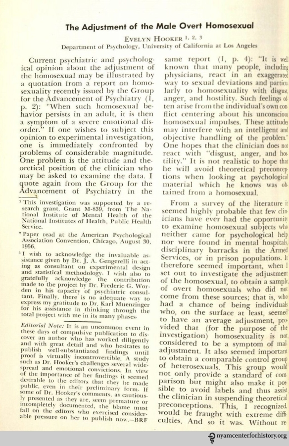 "Hooker, ""The Adjustment of the Male Overt Homosexual,"" Journal of Projective Techniques 21 (1958): 18."