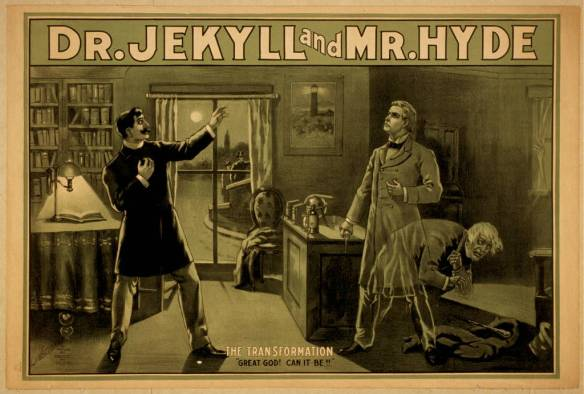 Dr. Jekyll and Mr. Hyde. Color lithograph by National Printing & Engraving Company, 188?. Courtesy of the Library of Congress Prints and Photographs Division.