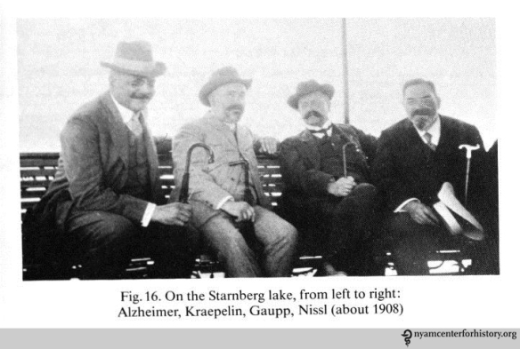 Left to right: Alzheimer and Kraepelin with psychiatrist Robert Gaupp and neuropathologist Franz Nissl, circa 1908.  In Kraepelin, Memoirs, 1987.