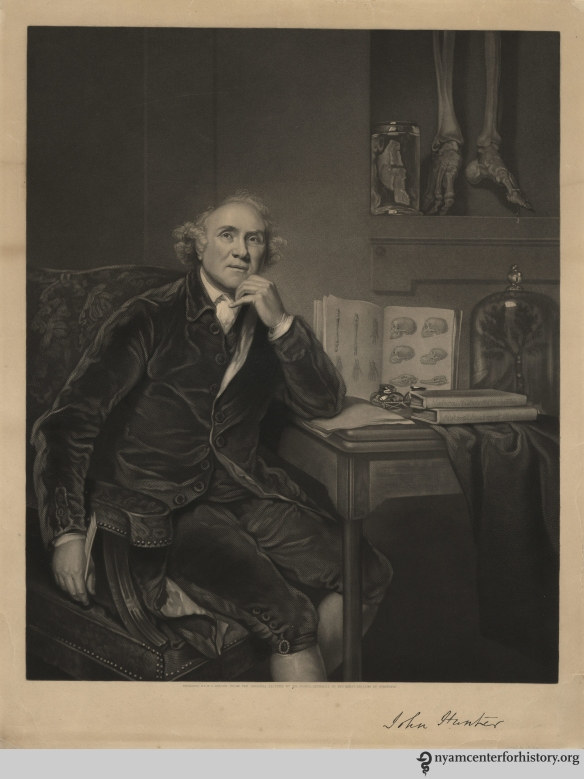 "John Hunter, ""engraved by W. O. Geller from the original picture by Sir Joshua Reynolds in the Royal College of Surgeons,"" 1836."