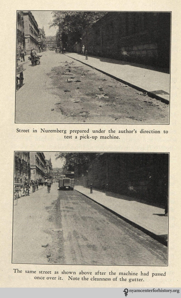 Street cleaning in Nuremberg. In Soper, FurtherStudies of European Methods of Street Cleaning and Refuse Disposal, with Suggestion for New York, 1930.