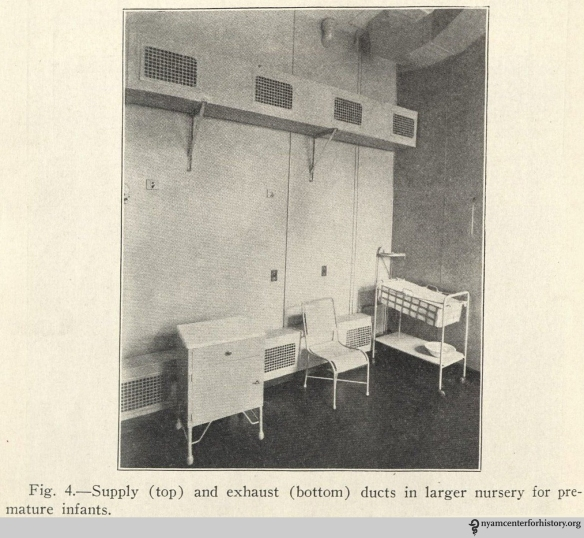 """The air conditioning unit in a nursery for premature infants. In """"The premature infant: A study of the effects of atmospheric conditions on growth and on development,"""" American Journal of Diseases of Children, 1933, 46(5)."""