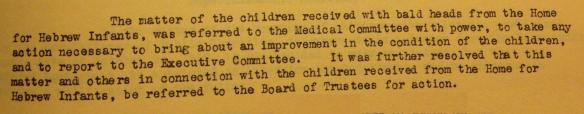 Detail of the Meeting Minutes of the Board of Trustees of the Hebrew Orphan Asylum. Courtesy of the American Jewish Historical Society.