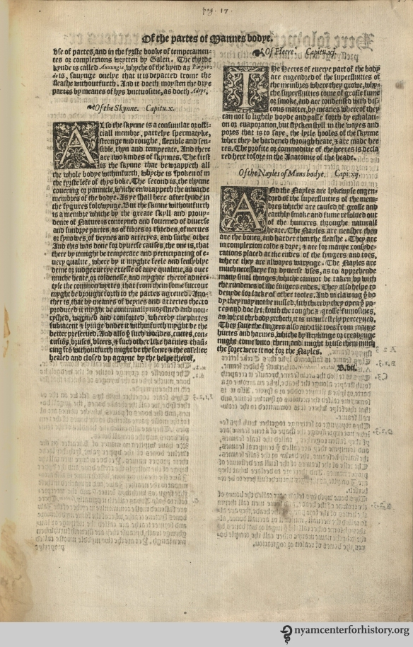 "Note ""B.vii"" hiding at the bottom right of the page. The Academy's copy of the 1559 English edition of Geminus' Compendiosa."