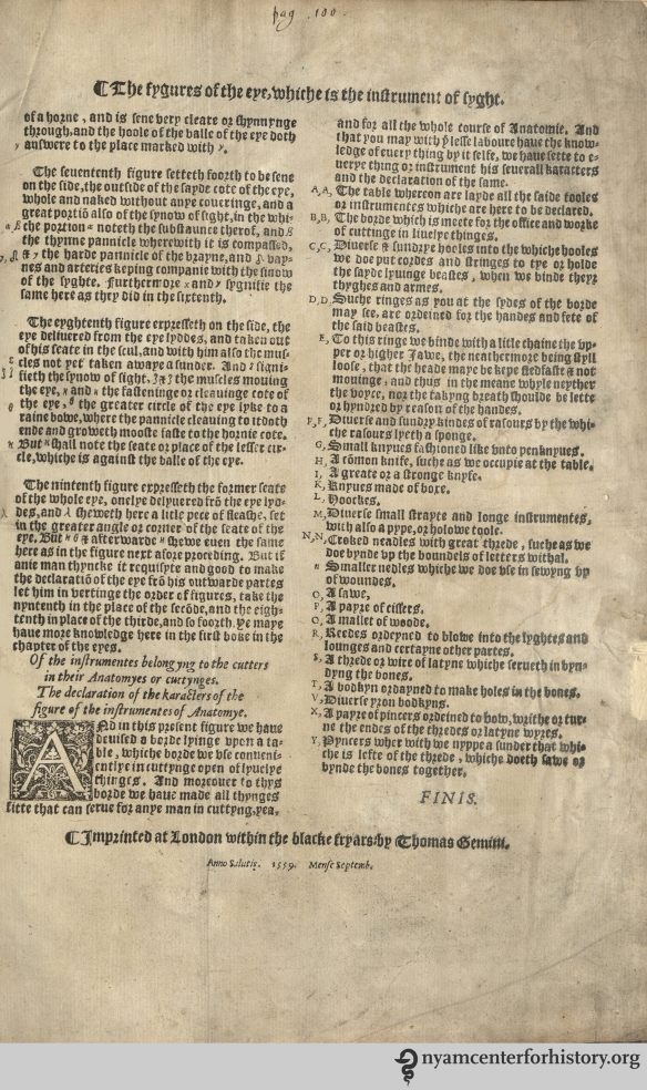 Final leaf with colophon. The Academy's copy of the 1559 English edition of Geminus' Compendiosa.