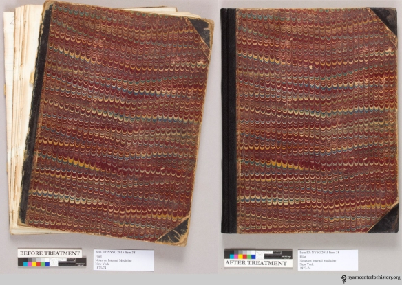 Before and after conservation treatment of a student notebook containing notes on internal medicine, 1873–74.