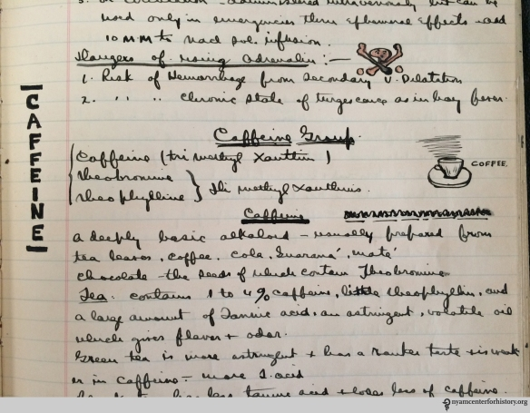 Harold Mixsell's notes and charming illustration about caffeine, from the pharmacology lectures delivered by Dr. Walter Bastedo at New York's College of Physicians and Surgeons, 1907.
