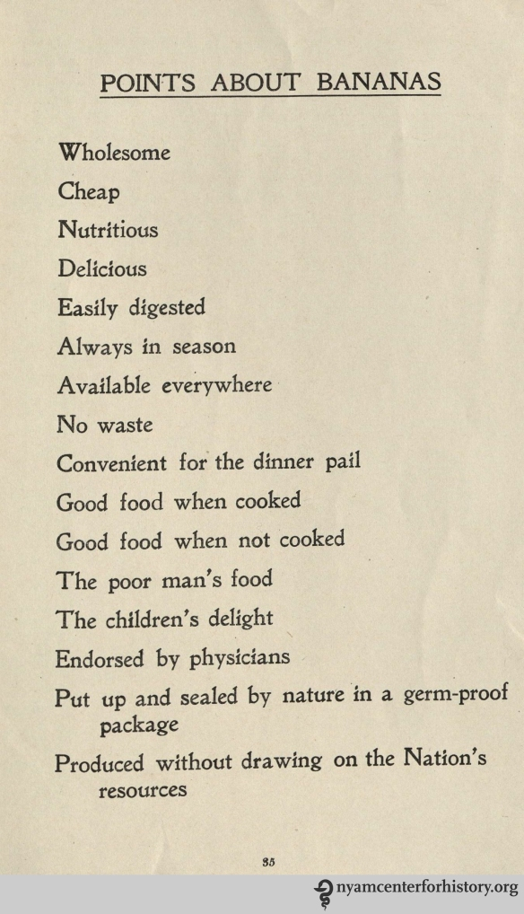 """The Food Value of the Banana,"" 1917, page 35."
