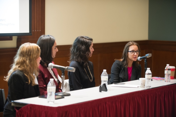"The ""Starting Up Health"" panel at Eating Through Time. L-R: Nina Meijers, Shireen Yates, Jasmina Aganovic, and Taryn Fixel. Photo:"
