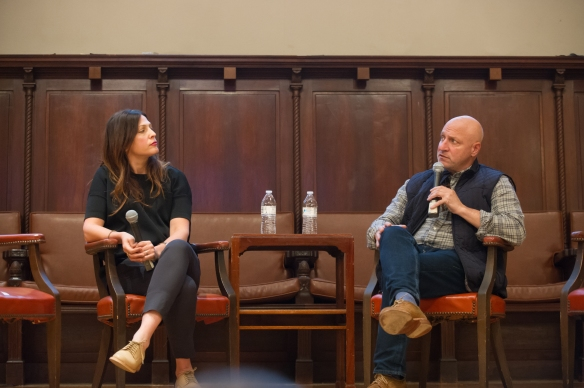 Lori Silverbush and Tom Colicchio discuss A Place at the Table at the Eating Through Time Festival. Photo:
