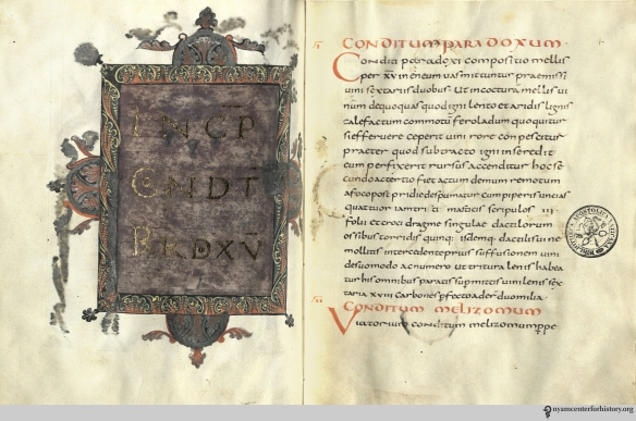 The gilt and illuminated Vatican manuscript of De re culininaria, as replicated in a 2013 facsimile.