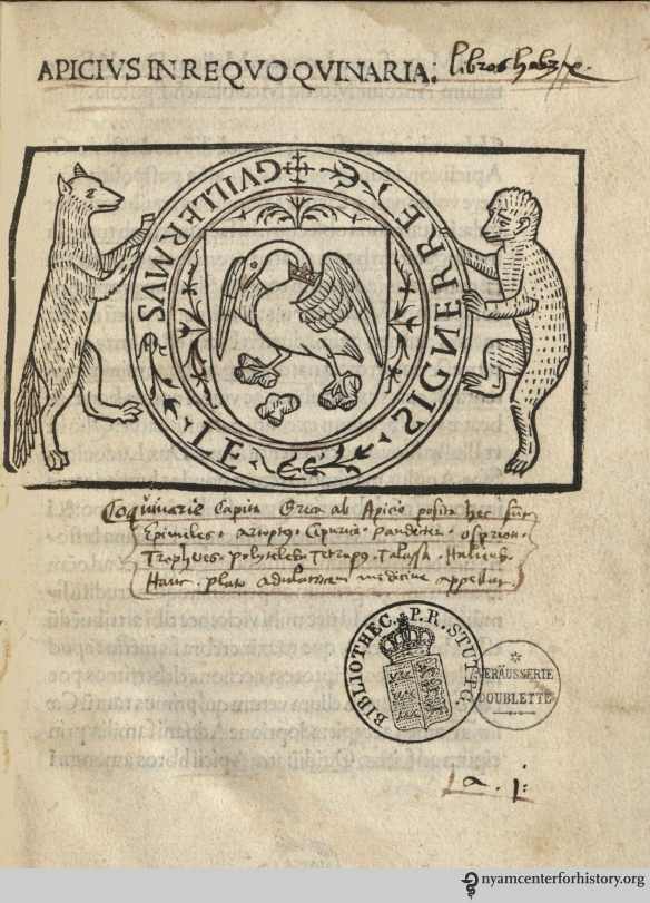 Title page from the earliest dated edition of the De re culininaria, published in Milan in 1498.