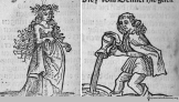 Medieval lady and gent from an incunable (very early printed book) by Heinrich von Louffenberg, 1491.