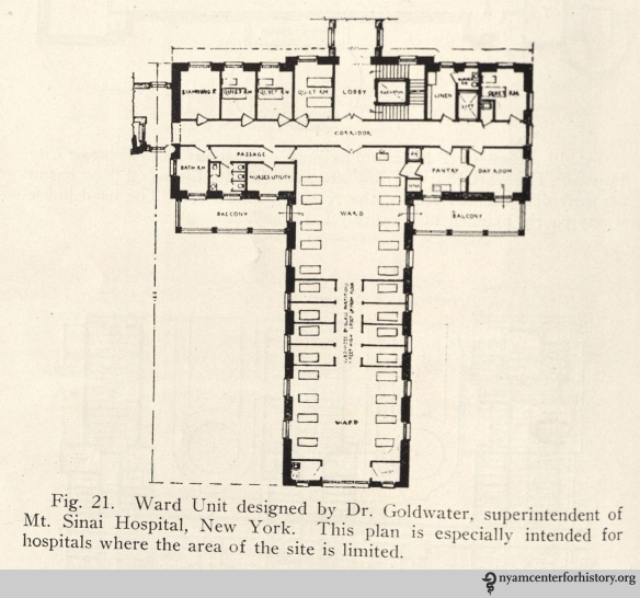 Mount Sinai ward unit design. Figure 21 in The Planning of a Modern Hospital.