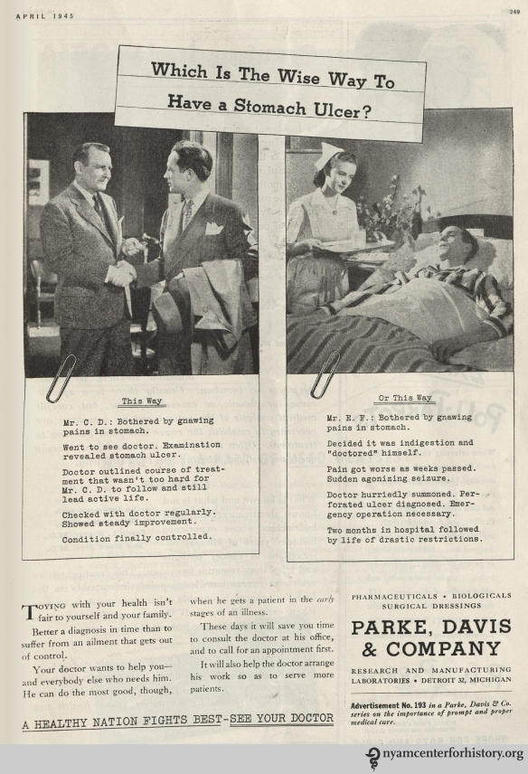Parke Davis ad in Hygeia Magazine, April 1945. Click to enlarge.
