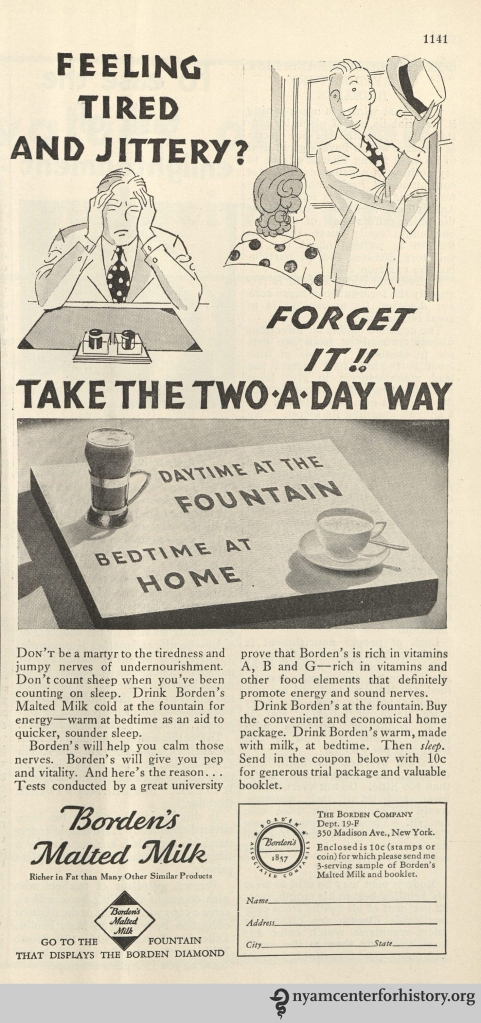 Bordens Malted Milk ad in ad in Hygeia Magazine, December 1932. Click to enlarge.