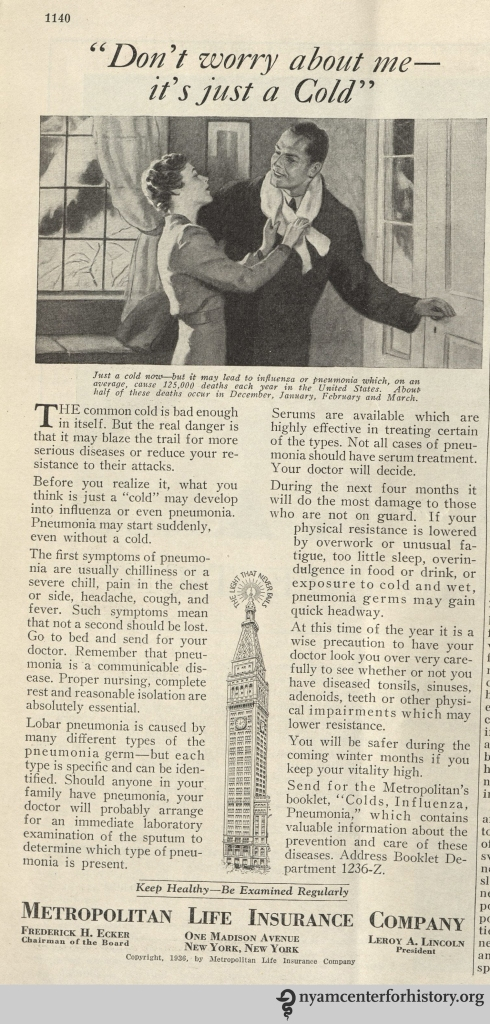 Metropolitan Life Insurance ad in Hygeia Magazine, December 1936. Click to enlarge.