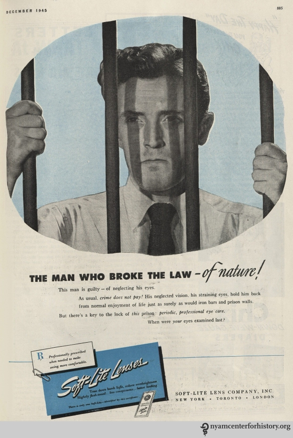 SoftLite Lenses ad in Hygeia Magazine, December 1945. Click to enlarge.