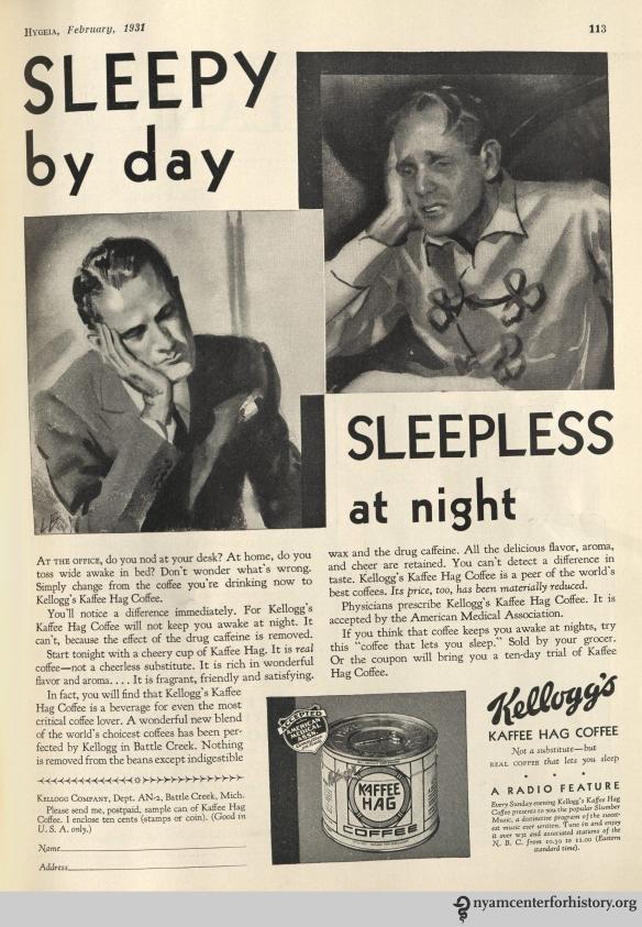 Kellogg's Kaffee Hag ad in Hygeia Magazine, February 1931. Click to enlarge.