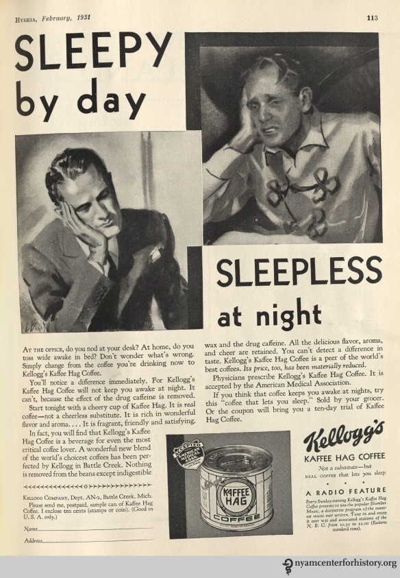 Kellogg's Kaffee Hag ad in Hygeia Magazine, February 1931. Click to enlarge.