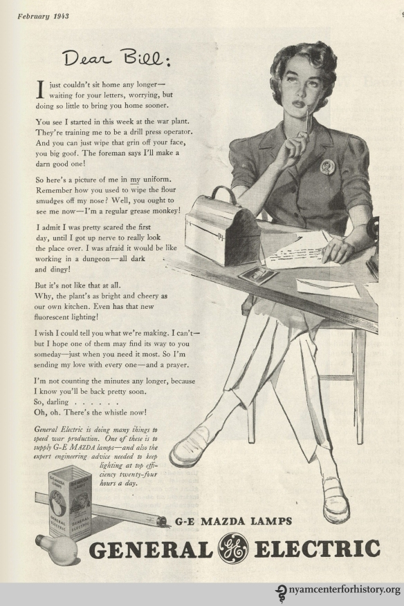 General Electric ad in Hygeia Magazine, February 1943. Click to enlarge.