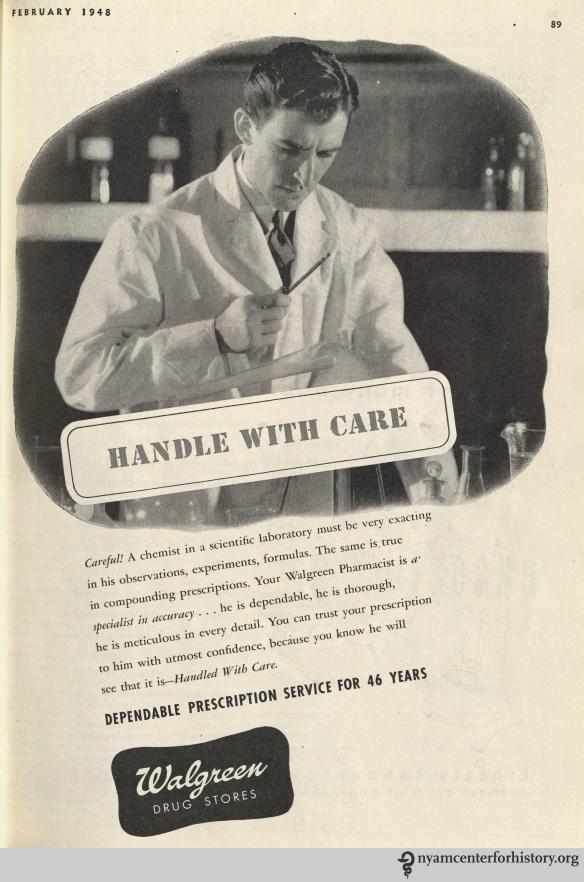 Walgreen ad in Hygeia Magazine, February 1948. Click to enlarge.
