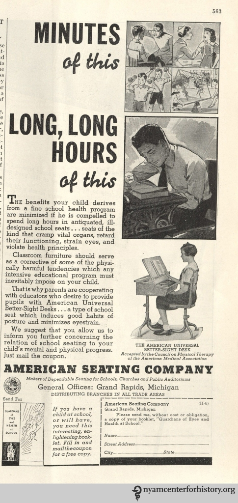 American Seating Company ad inHygeia Magazine, June 1936. Click to enlarge.