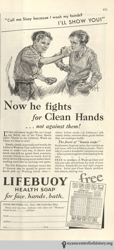 Lifebuoy Health Soap ad in Hygeia Magazine, May 1932. Click to enlarge.