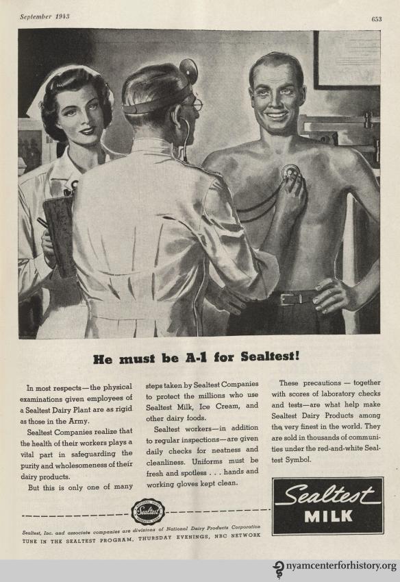 Sealtest Milk Metropolitan Life Insurance ad inHygeia Magazine, September 1943. Click to enlarge.