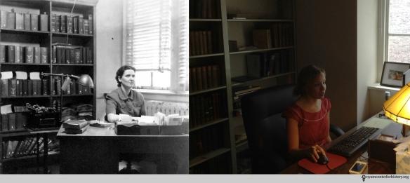 Top: M. Roberts, March 1942. Bottom: Anne Garner, Curator, July 7, 2015.