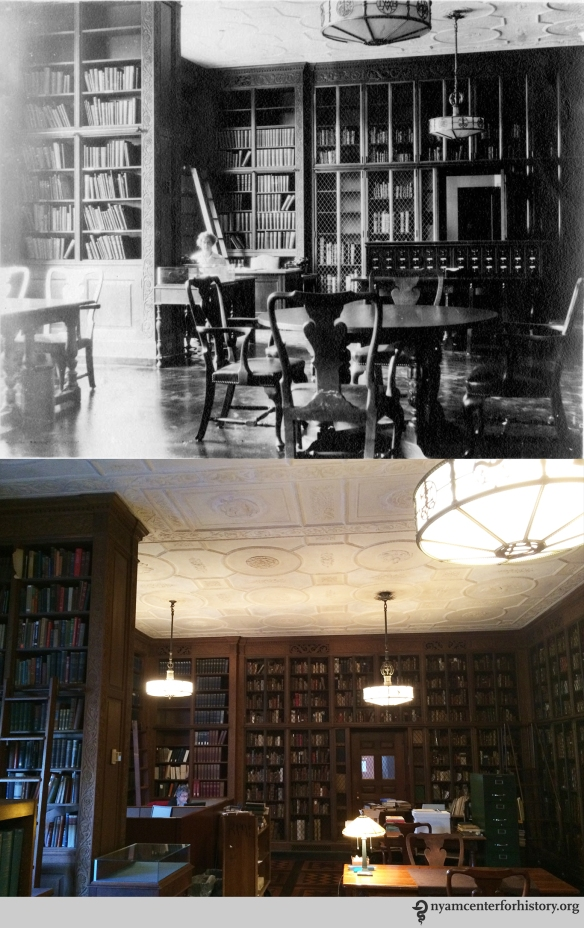 Top: Helen Field in the Rare Book Reading Room, July 1933. Bottom: Arlene Shaner, Historical Collections Librarian, July 16, 2015.