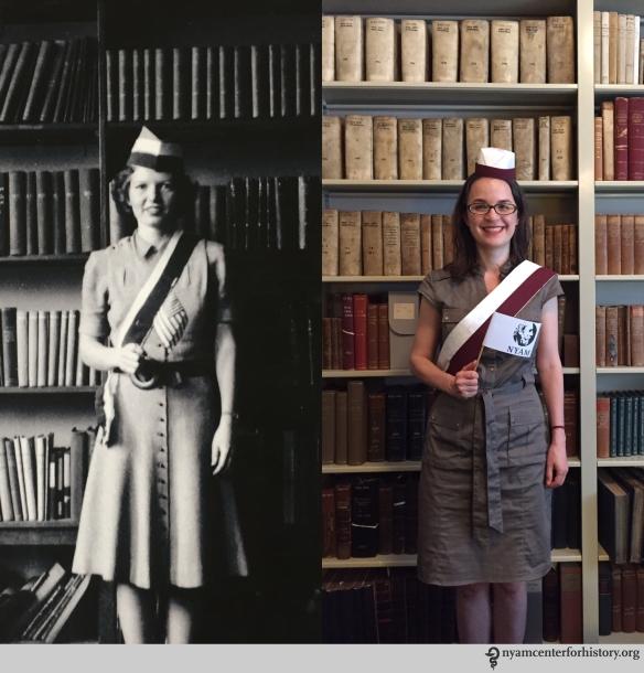 Left: E. W. Evans, April 11, 1941. Right: Christina Amato, Book Conservator, July 23, 2015.
