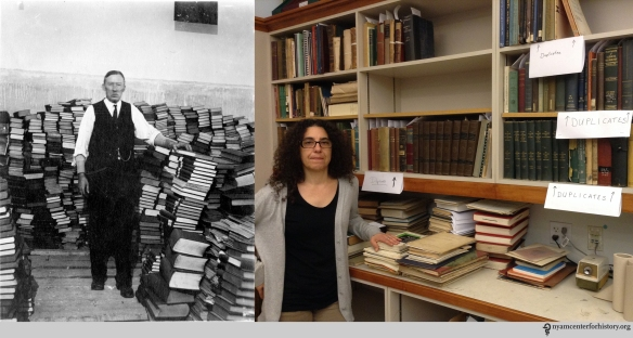 """""""F. Kinsley among duplicates,"""" 1926. Right: Danielle Aloia, Special Projects Librarian, among duplicates, July 7, 2015."""