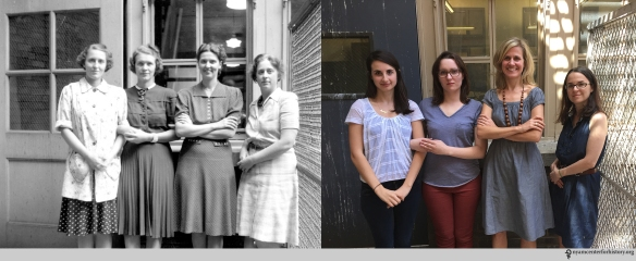 Left: M. Schieck, A. Larsen, M. Roberts, Helen Field, October 1941. Right: Emily Moyer (Collections Care Assistant), Kate Bator (Past Collections Care Assistant), Erin Albritton (Head of Conservation), and Christina Amato (Book Conservator), July 22, 2015.