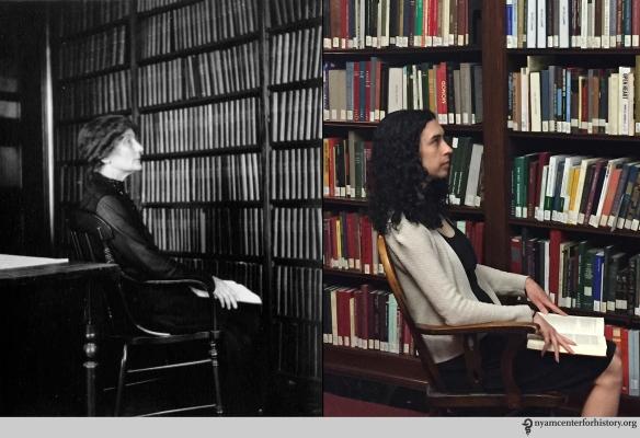Dr. Felicia Robbins, 1920. Right: Johanna Goldberg, Information Services Librarian, 2015.