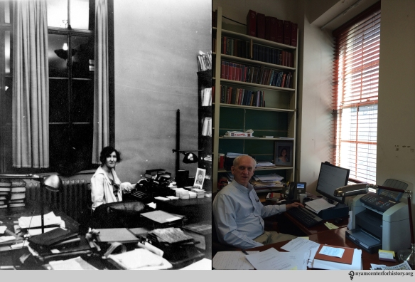 "Left: ""A. White, maybe 1932."" Right, Paul Theerman, Associate Director, July 16, 2015."