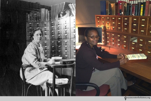 Left: Helen Field, March 1942. Right: Robin Naughton, Digital Systems Manager, July 16, 2015.