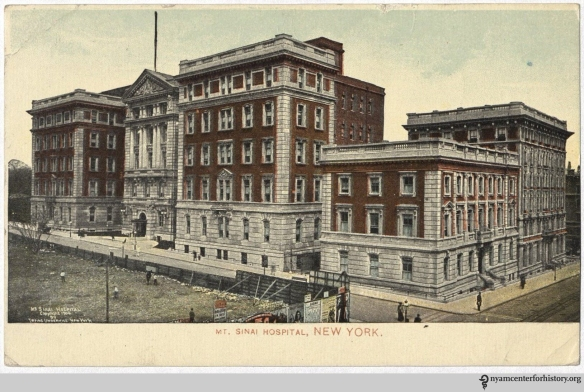 Postcard showing Mount Sinai Hospital, 1910.