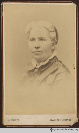 Carte-de-visite of Emily Blackwell (1826-1910), English born physician. Photograph by W. Kurtz.