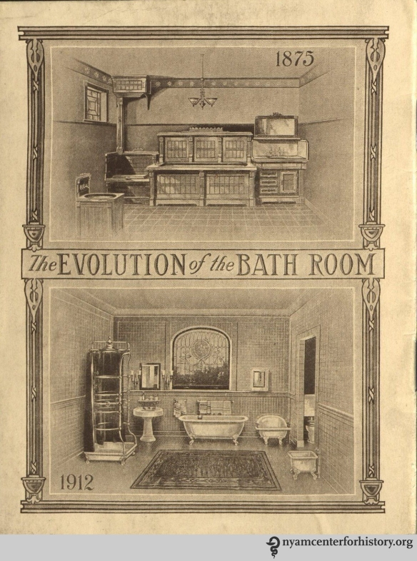 Back cover, The Evolution of the Bath Room, circa 1912. Cover, The Evolution of the Bath Room, circa 1912. The 1870s-style bathroom is shown on top. The 1912-era bathroom is on the bottom.