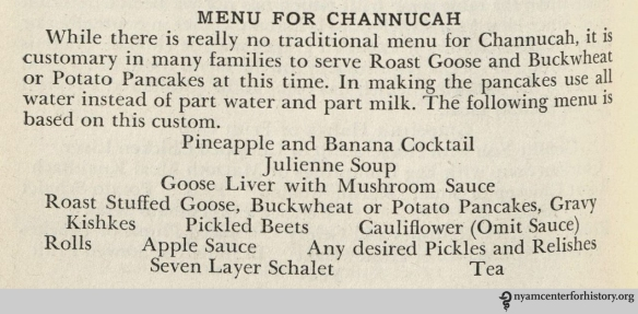 "The ""Channucah"" menu in Bellin's Jewish Cook Book, 1941."