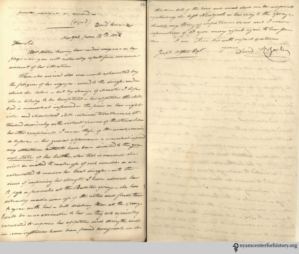 Recto and verso of a copy of David Hosack's letter to Joseph Alston. In: D. Hosack. Copies of Letters and Documents 1801-1826.