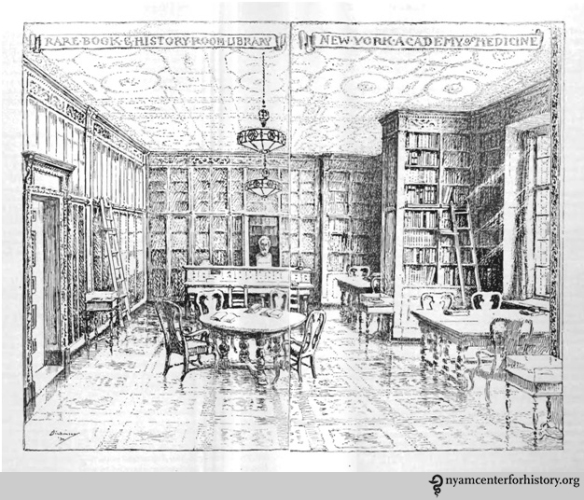Robert Latou Dickinson sketch of the Rare Book Room on its opening in 1933, from the Academy's Annual Report, 1933