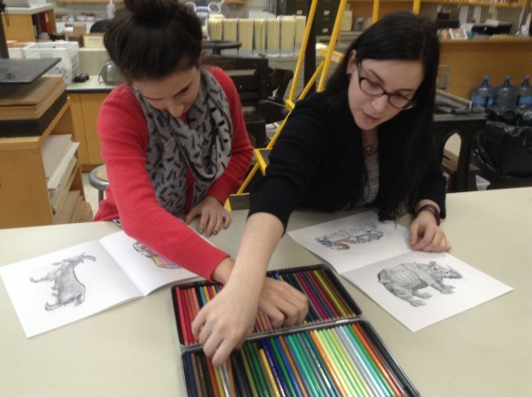 Collections Care Assistant Emily Moyer and Archivist Rebecca Pou #ColorOurCollections.