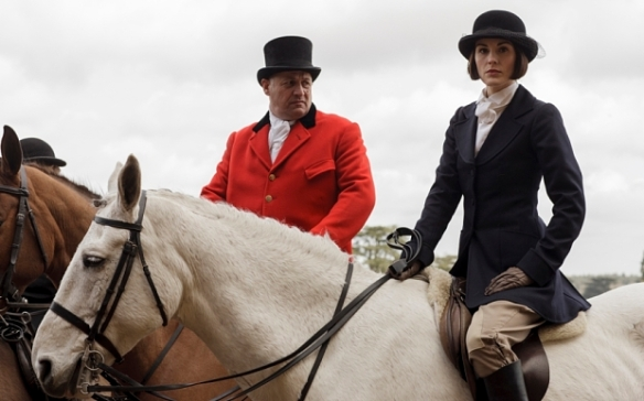 Lady Mary Crawley riding astride.