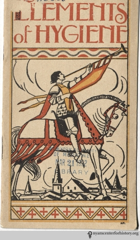 Horseback rider on the cover of Elements of Hygiene, circa 1921.