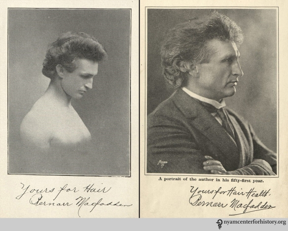 Bernarr Macfadden in the 1901 and 1922 editions of Hair Culture.